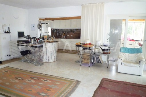 living & kitchen-Cala-Vadella-villa