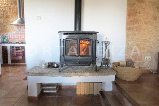 fireplace-fantastic finca with sea views