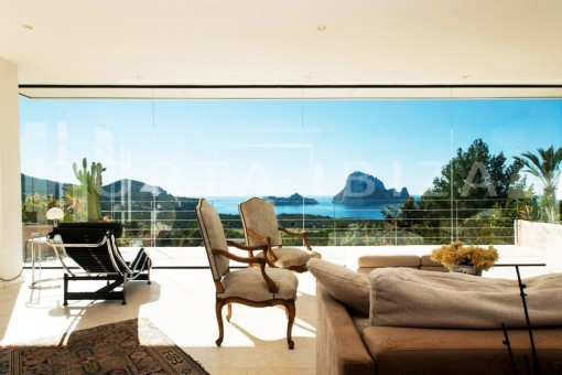 livingroom with view to es vedra-fantastic villa-ibiza
