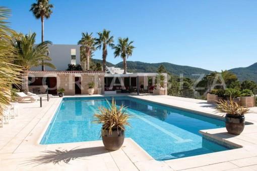 pool area-es vedra-fantastic villa-ibiza