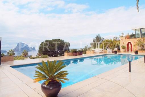 pool area-fantastic villa-es vedra-ibiza