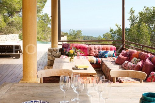 terrace & chillout-wonderful villa-seaview-roca llisa