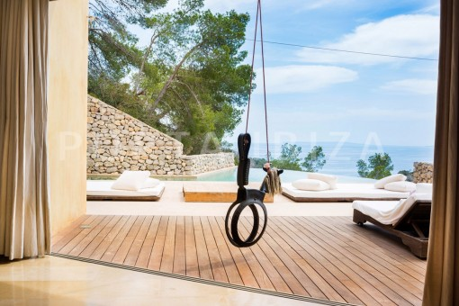 terrace & pool-wonderful villa-seaview-roca llisa