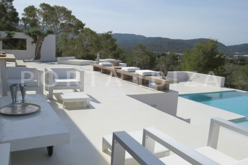 pool terrace-luxury property-fantastic sea views-sunset views-cala tarida