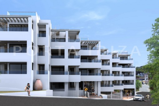 New built apartments on the beach of Cala Vadella