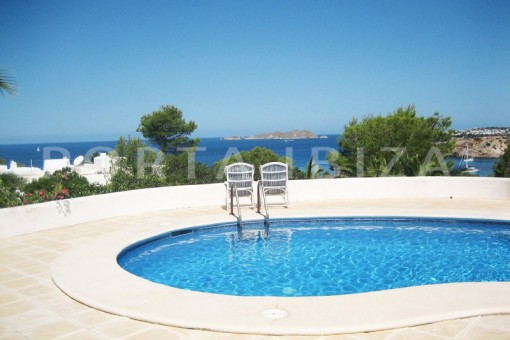 pool area-villa-cala tarida-amazing sea view