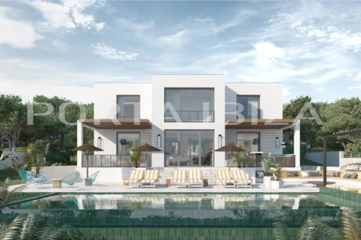 Luxusvilla in Konstruktion bei Cala Conta mit Meerblick