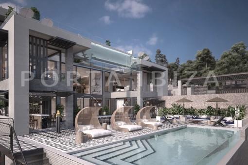Sensationelles Projekt für eine ultramoderne Villa in Cala Molí