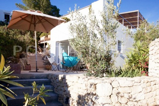 guestroom terrace-wonderful modern villa-magnificent setting-Na Xamena