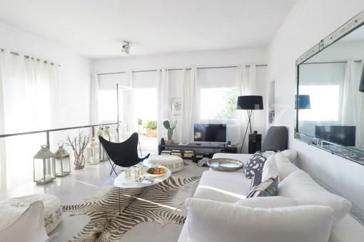 living-wonderful modern villa-magnificent setting-Na Xamena