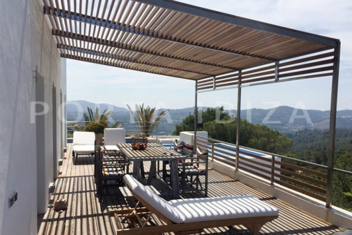 terrace living-wonderful modern villa-magnificent setting-Na Xamena