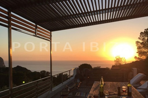terrace sundown-wonderful modern villa-magnificent setting-Na Xamena