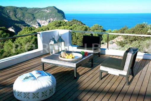 terrace view-wonderful modern villa-magnificent setting-Na Xamena