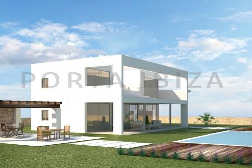 Baugrundstück bei Cala Tarida mit Lizenz