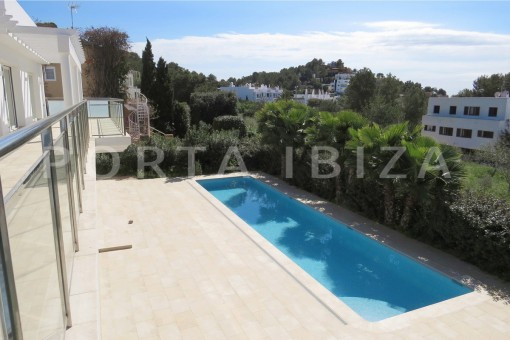 poolarea-beautiful new construction villa at Can Pepsimo