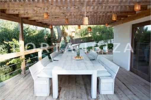 dinner terrace-wonderful villa-San José-mediterranean garden