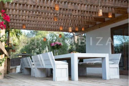 terrace dinner-wonderful villa-San José-mediterranean garden