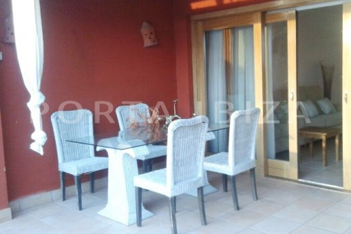dinner terrace-nice terraced house-cala moli-with pool