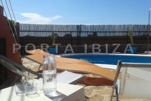 terrace & pool-nice terraced house-cala moli-with pool