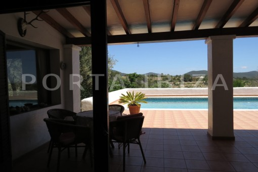 pool terrace-country house-Es Cubells-fabulous landscape views