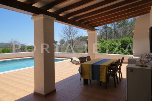 pool terrace-high quality country house-Es Cubells-fabulous landscape views