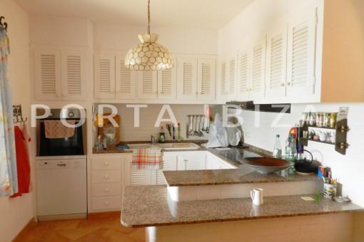 kitchen-wonderful villa with sea view at can germá
