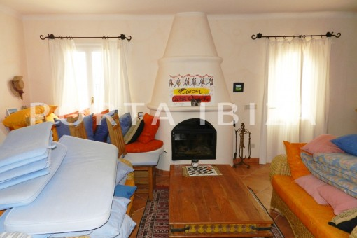 living area-wonderful villa with sea view at can germá