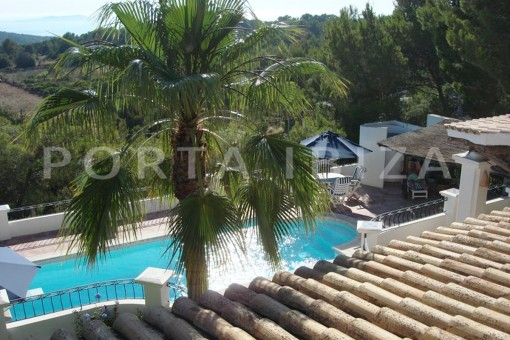 pool area-wonderful villa with sea view at can germá