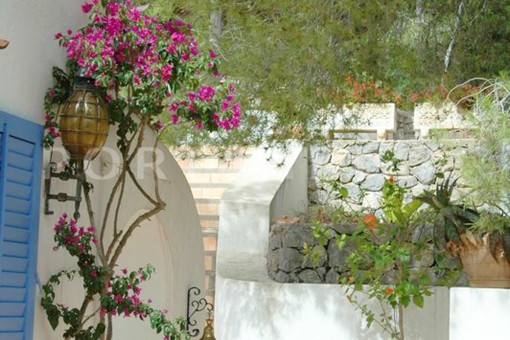 terrace area-wonderful villa with sea view at can germá
