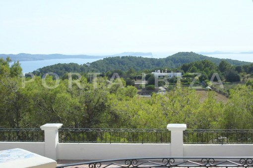 terrace view-wonderful villa with sea view at can germá