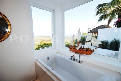 bath with view-high quality & modern villa-cala conta-sea view
