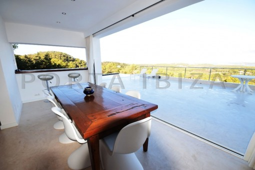 dinner & terraces-high quality & modern villa-cala conta-sea view