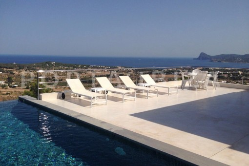 pool area-high quality & modern villa-cala conta-sea view