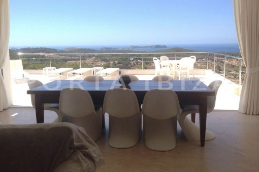 terrace dinner-high quality & modern villa-cala conta-sea view