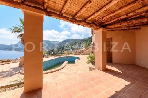 pool & terrace-unique first line villa-Es Cubells-fantastic views