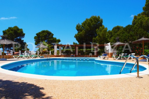 community pool area-charming house-Cala Codolar-views to Es Vedra
