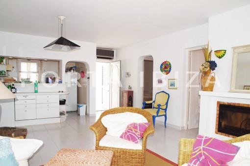 livingroom area-charming house-Cala Codolar-views to Es Vedra