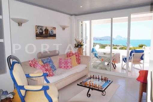 livingroom-charming house-Cala Codolar-views to Es Vedra