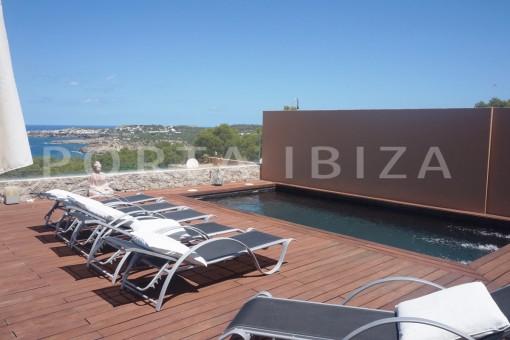 pool area-fabulous semi detached house-fantastic sea views-pool-Cala Moli