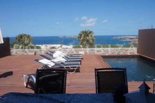 pool terrace-fabulous semi detached house-fantastic sea views-Cala Moli