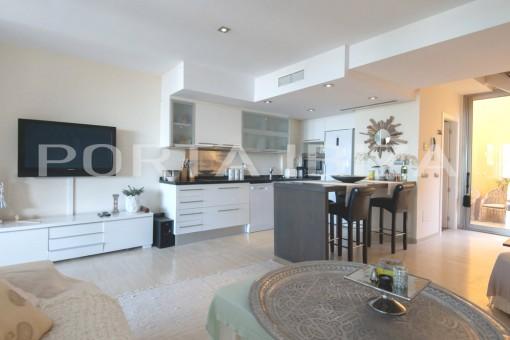 open kitchen cala carbo apartment