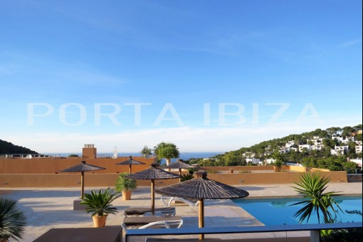 pool terrace cala carbo apartment